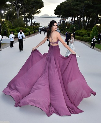 dress gown maxi skirt kendall jenner cannes purple top