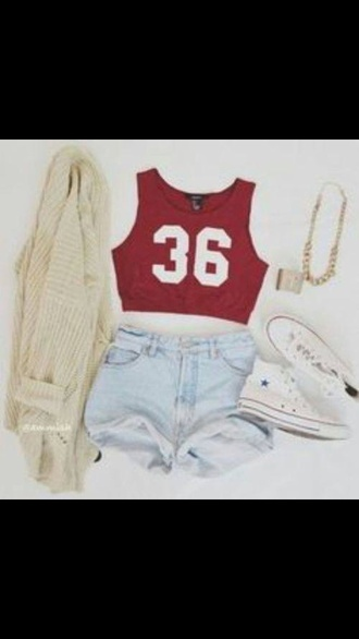 tank top red tank top denim shorts