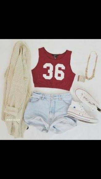 red tank top tank top denim shorts