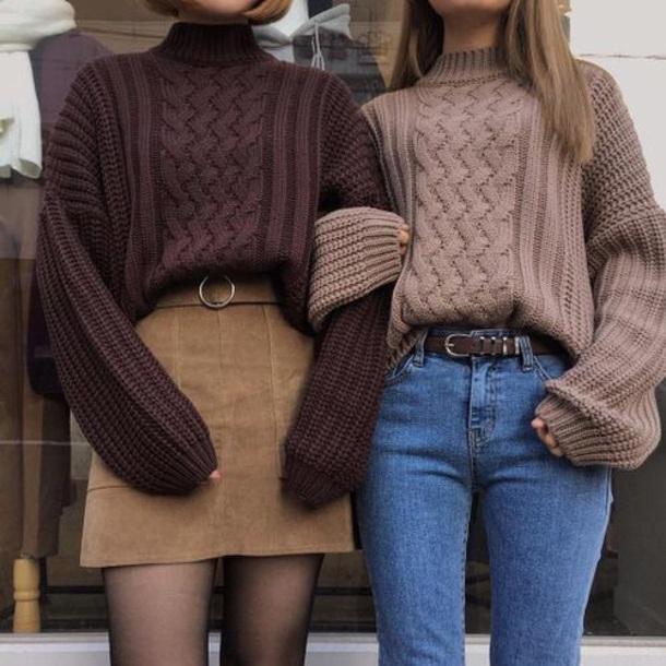 sweater brown tan beige oversized sweater 90s style cute