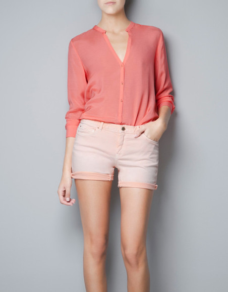 pink blouse coral blouse zara shirt shorts summer cute last year 2012 sold out coral salmon salmon pink peter pan collar