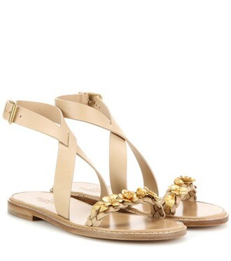embellished sandals leather sandals leather beige shoes