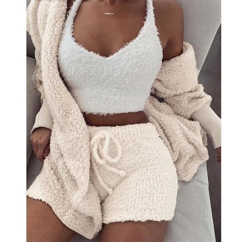 Autumn Winter Suit Long Sleeve Loose Coat  Shorts Suit Woman Oversize Cardigan Drawstring Shorts 2 Piece Set