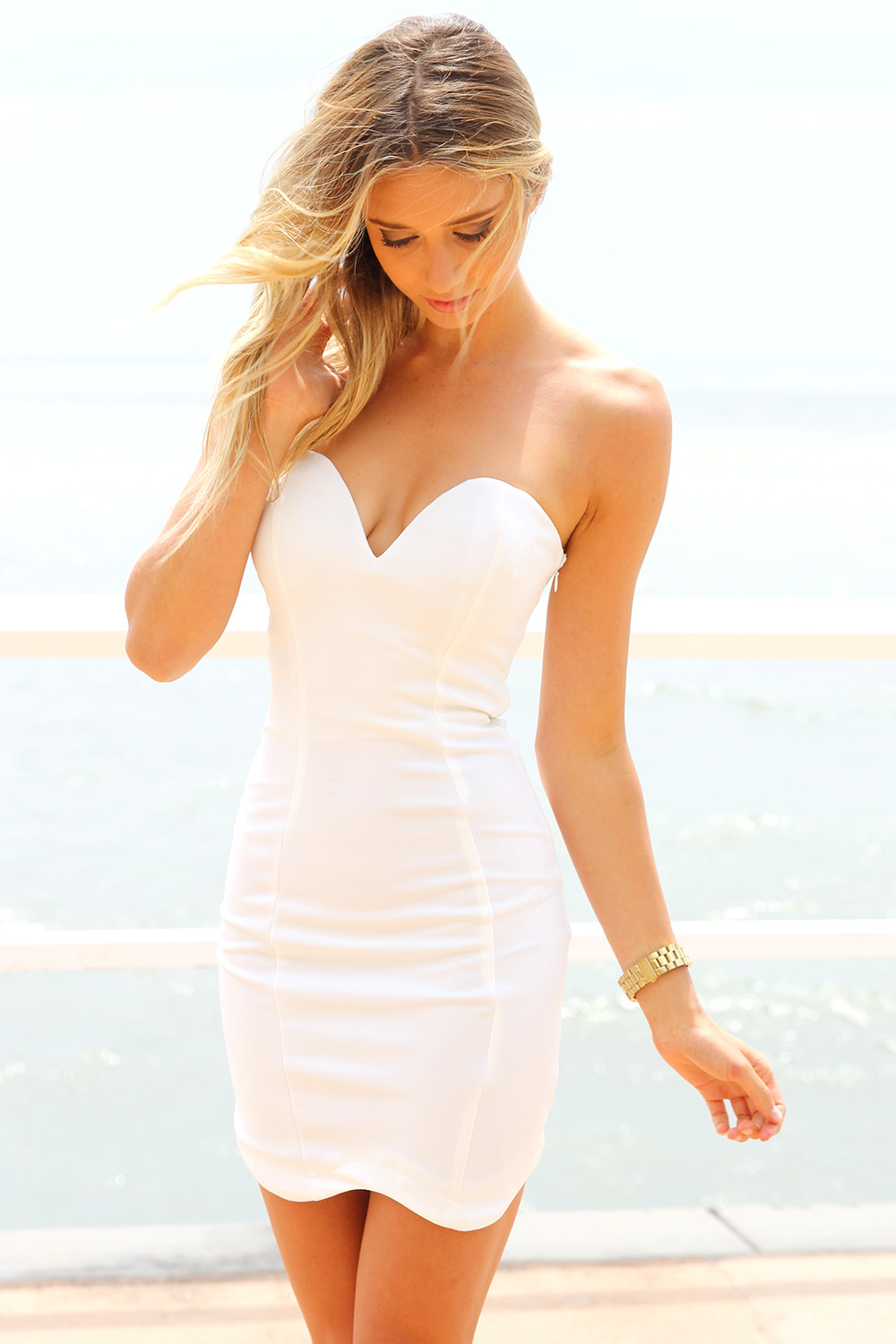 White Strapless Dresses
