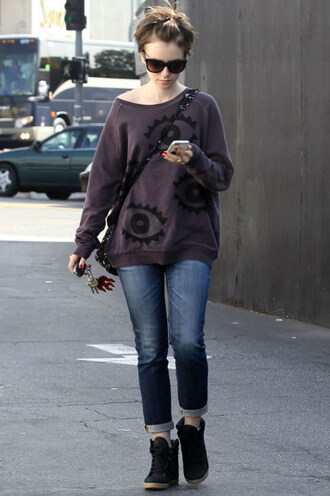 sweater lily collins jeans streetstyle