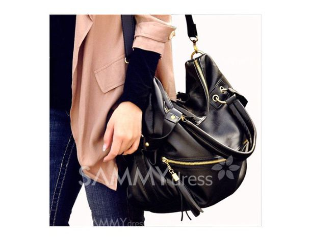 Black Long Strap Shoulder Bag 86