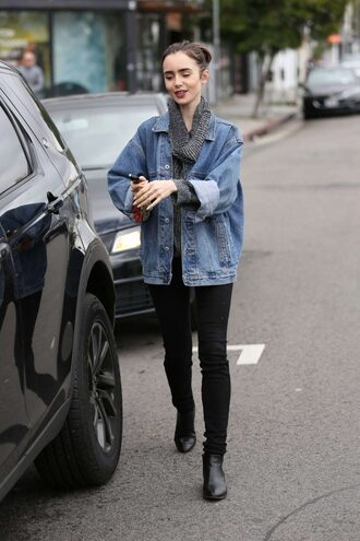 Lily Collins Streetstyle Denim Jacket - Shop for Lily Collins ...