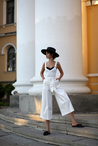 jumpsuit white jumpsuit hat shoes