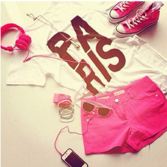 t-shirt pink pink sunglasses paris sunglasses converse