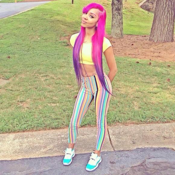 colorful pink multicolor rainbow cute teal yellow purple jordans aqua jordans stripes crop tops shoes