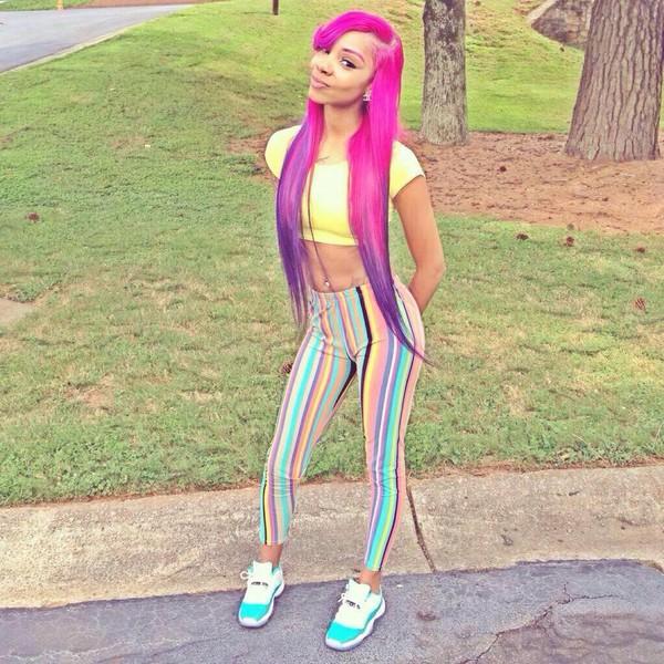 colorful rainbow multicolor cute teal pink yellow purple jordans aqua jordans stripes crop tops shoes