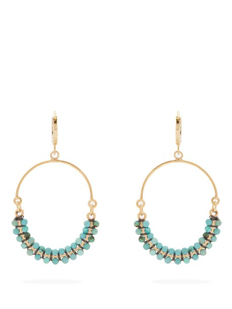 tropical beaded earrings green jewels