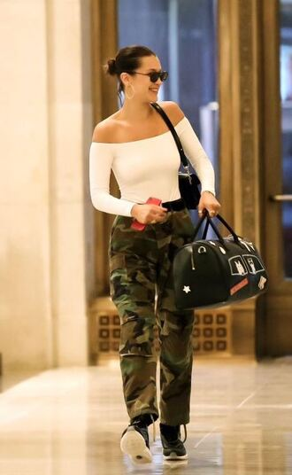 top off the shoulder off the shoulder top camouflage camo pants bella hadid model off-duty