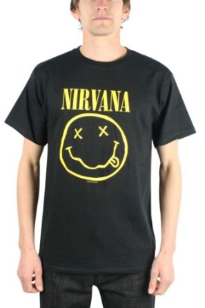 Amazon.com: Nirvana Smile Rock Black Adult T-shirt Tee: Clothing