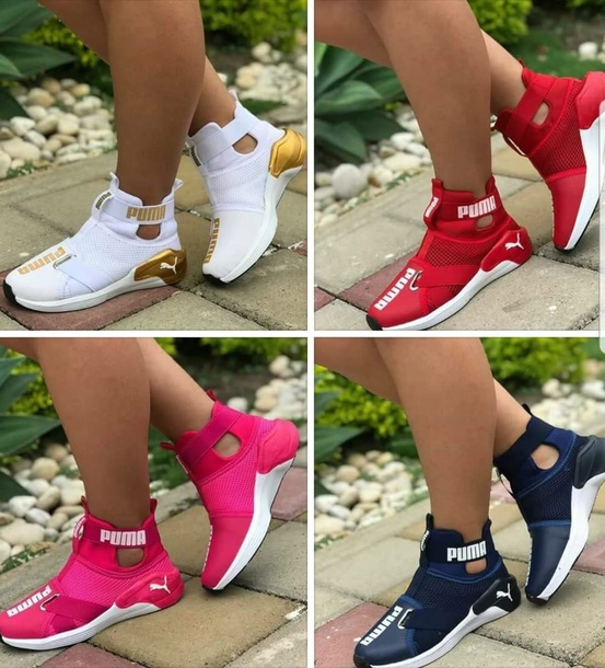 gold and white pumas with strap 222492