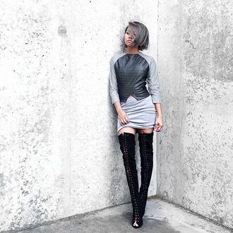 top maniere de voir leather fashion crop tops grey top cut-out