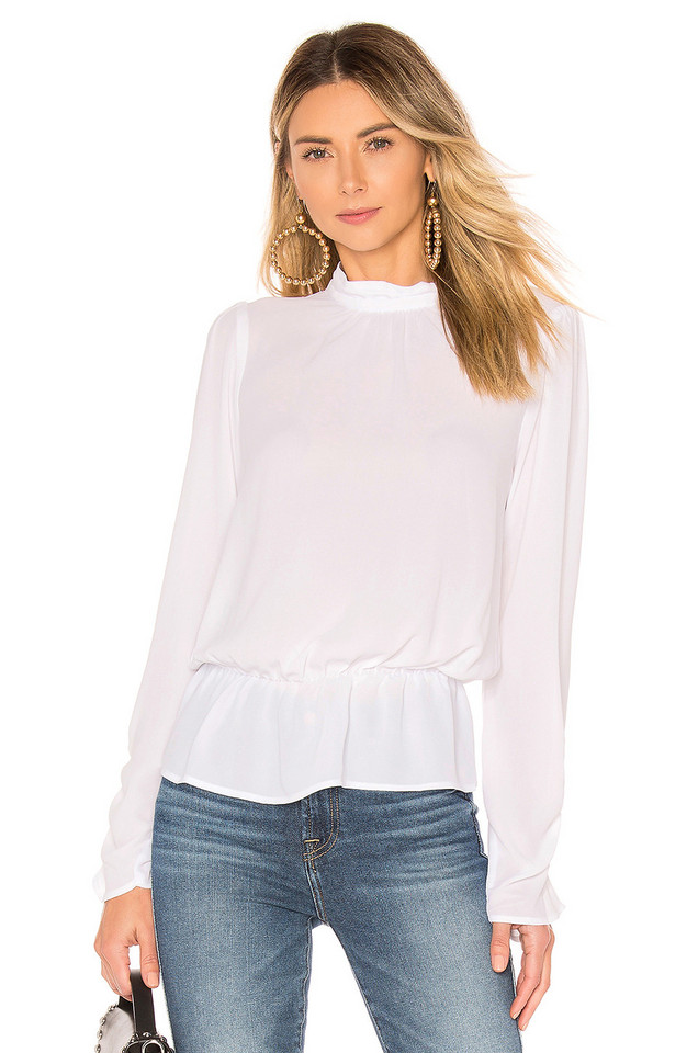 BCBGeneration Turtleneck Blouse in white