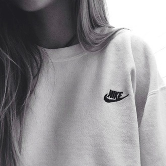 sweater nike white logo grey sweater comfy grey tumblr nike sweater style fashion sportswear t-shirt jumper sweats