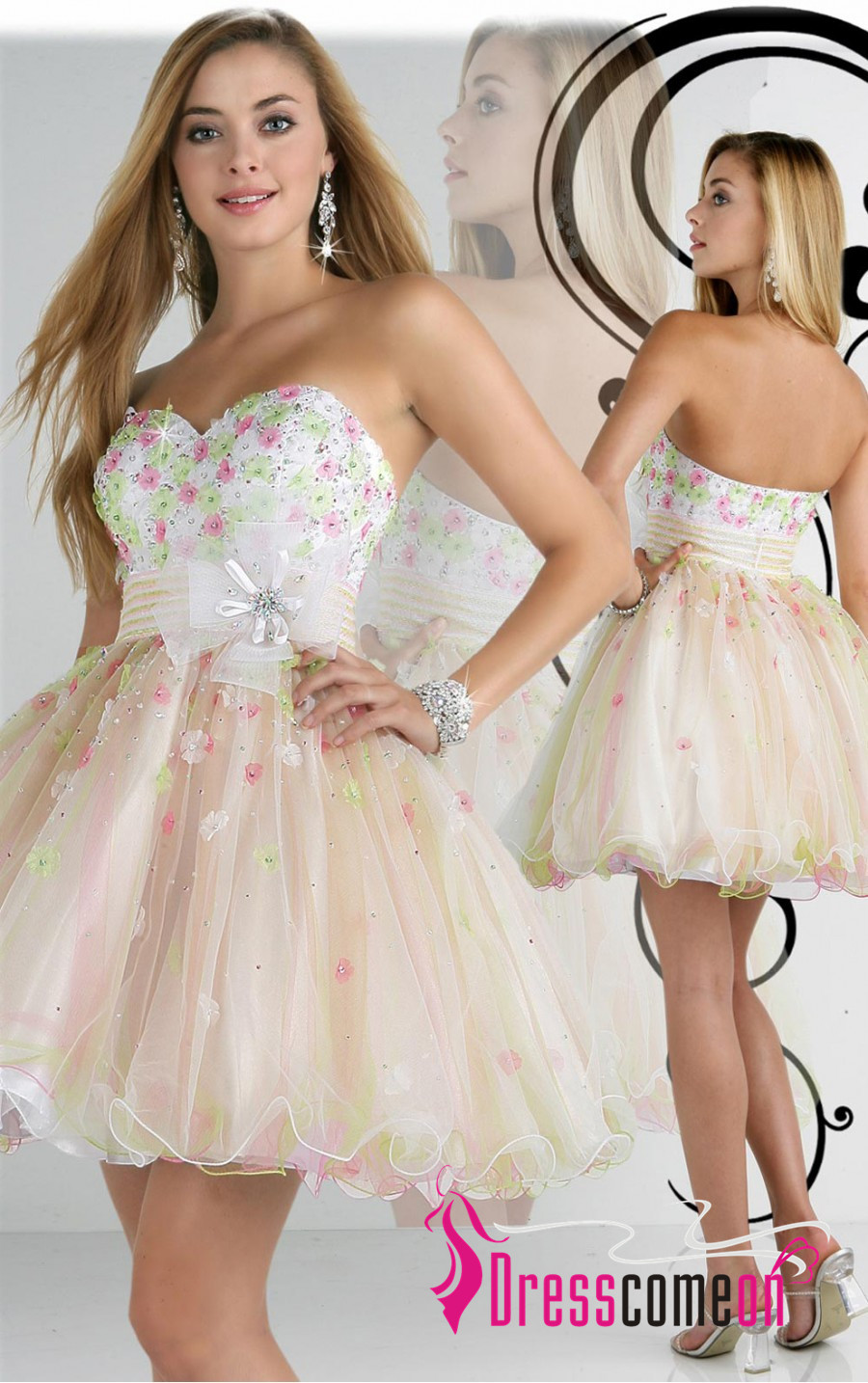 Multi Colours A-line Sweetheart Short/Mini Tulle Party Dress [PTD0023] - $118.65 - Dresscomeon