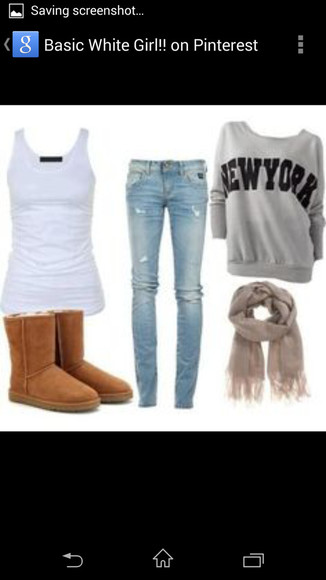 torn jeans tank top sweater bag grey jeans scarf boots