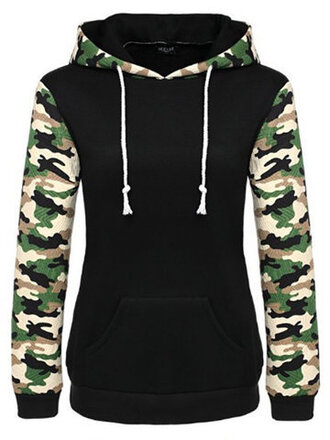 sweater black fall outfits green cool warm camouflage hoodie winter outfits newchic