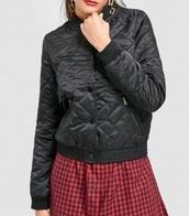 jacket,girly,black,bomber jacket,button up,padded outerwear