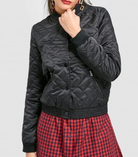 jacket girly black bomber jacket button up padded outerwear