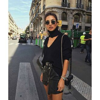 top tumblr choker top black sweater sunglasses rayban skirt black leather skirt leather skirt black skirt asymmetrical asymmetrical skirt bag