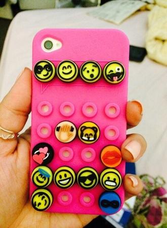 phone cover emoji print cae cute case iphone 5 cse iphone trendy emoji case pink case yellow iphone 5c iphone 5 case hair accessory