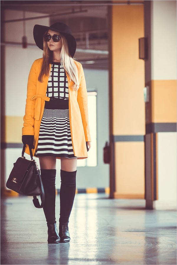 my blonde gal sweater bag hat coat shoes dress sunglasses