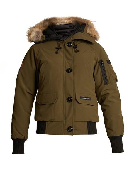 canada goose jacket bomber jacket fur khaki