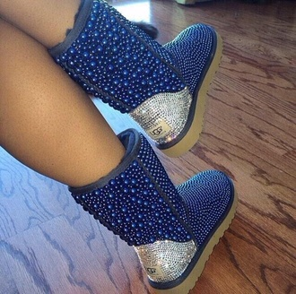 blue pearls silver pearls pearl uggs custom uggs ugg boots shiny -blue uggs blue shoes