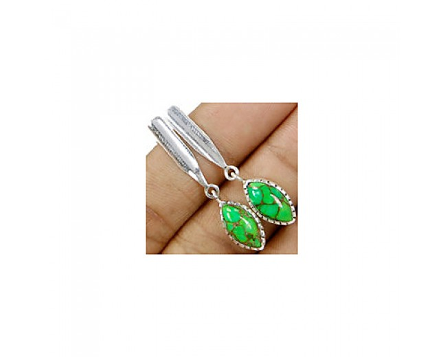 Awesome 925 sterling silver Gemstone Green Copper Turquoise Stud