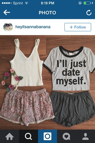 t-shirt grey i'll just date my self graphic tee shorts top