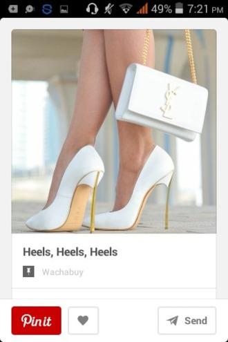 shoes heels white classy yves saint laurent white shoes