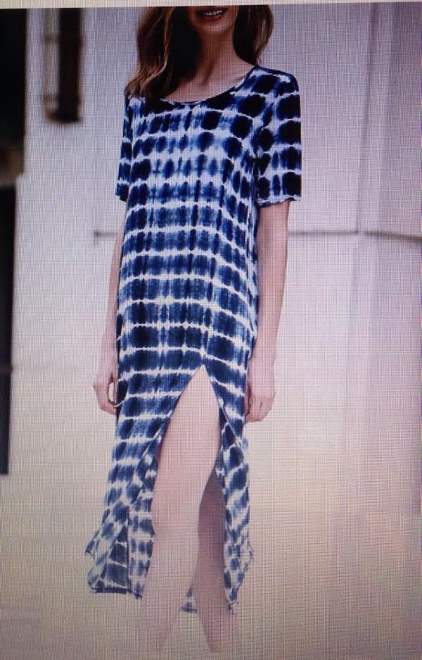 dress tie dye blue rounded collar short sleeve high slit fashion dress summer dress beach dress