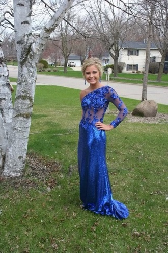 one shoulder royal blue prom dress long sleeve dress
