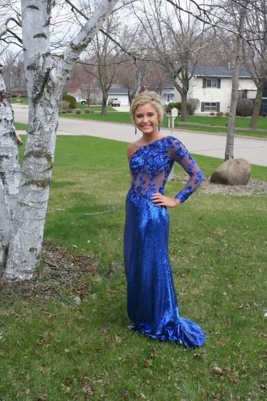 one shoulder royal blue prom dress long sleeve dress