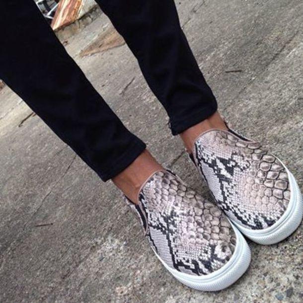 shoes snake print flats