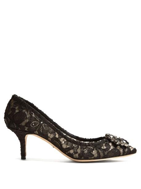 embellished pumps lace black shoes