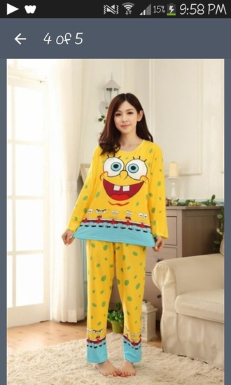 pajamas yellow spongebob winter outfits asian
