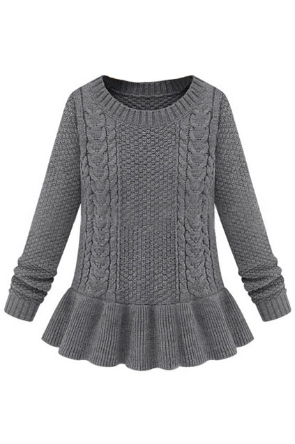 ROMWE | Cable Knitted Long Sleeves Grey Jumper, The Latest Street Fashion
