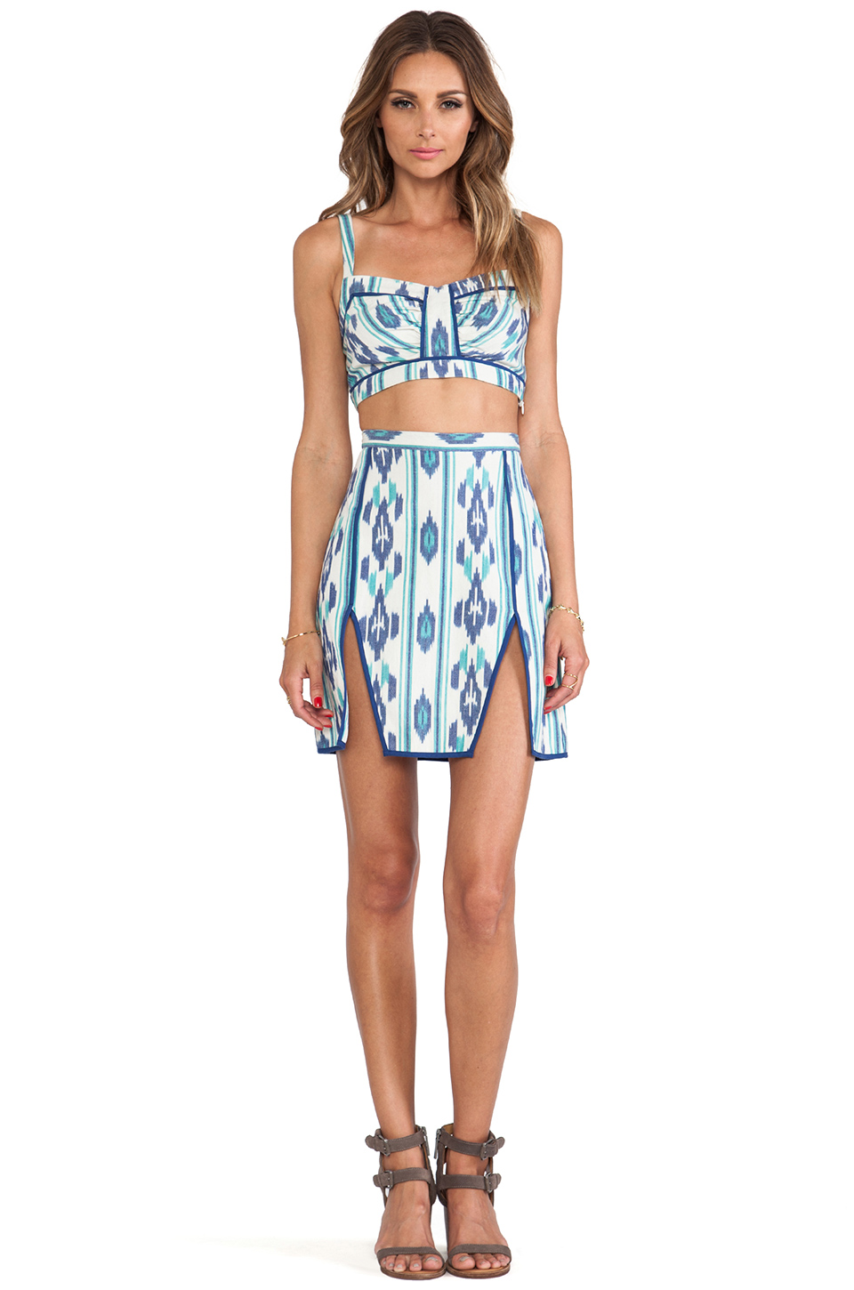d.RA Janet Skirt in Blue Ikat | REVOLVE