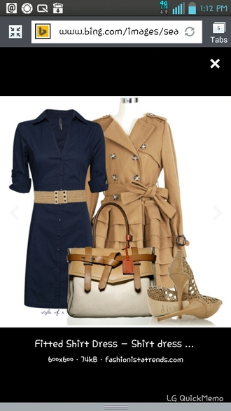 jacket shirt dress peplum coat navy tan belt