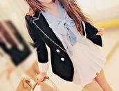 skirt,cream skirt,blue shirt,blouse,jacket,black jacket,cute,beautiful,light blue,coat,girly,black,white,chic,bow,blue and white jacket
