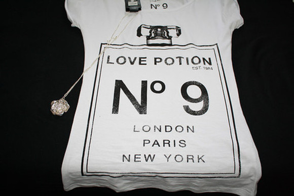 love potion chanel parfum london paris new york nr 9 white shirt t-shirt n° 9