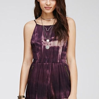 jumpsuit tie dye purple purple dress tie dye romper romper shorts style boho boho chic