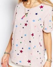 shirt,salmon,pink,pastel,cute,preppy,stars,red,blue,green,white,dark blue