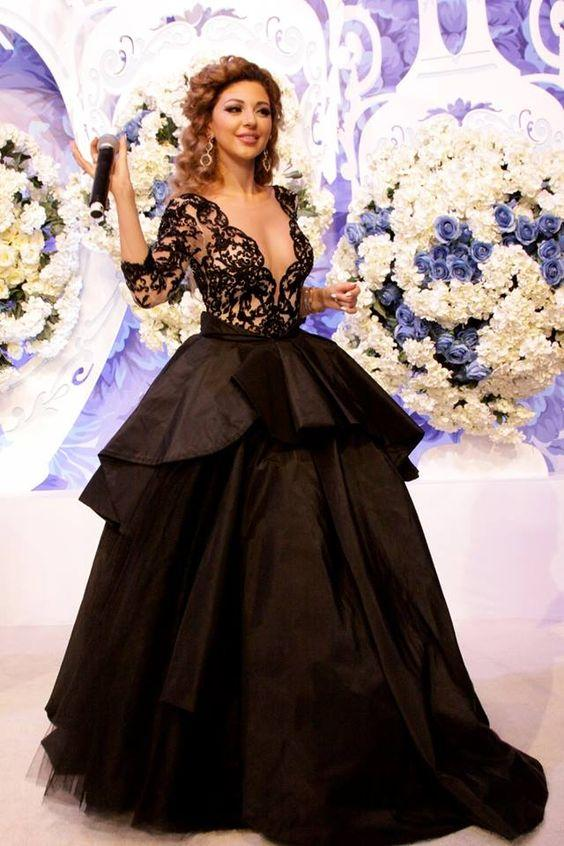 Myriam Fares Black Lace Celebrity Dresses Ball Gown Sexy Illusion Long Sleeve Deep V Neck See Though Back Tiered Skirt Tulle Evening Gowns Dresses Evening Dresses 2011 From Molly_bridal, $97.99| Dhgate.Com
