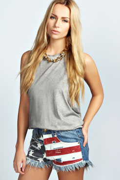 Arla Stars and Stripes Frayed Denim Hotpants at boohoo.com